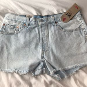 NWT Levi's 501 Shorts 32 mid rise distressed blue